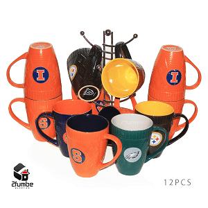dozen colored mugs